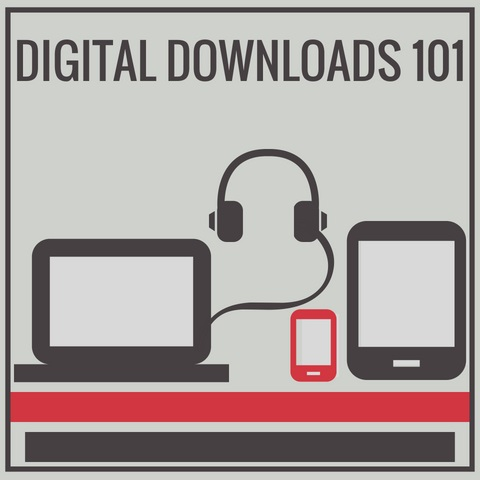 "Flyer that reads ""Digital Downloads 101"". Has a computer, headphone, small phone, and tablet."