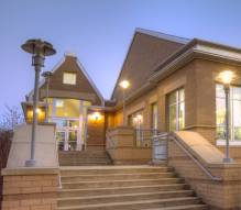 Shorewood Library at dusk.